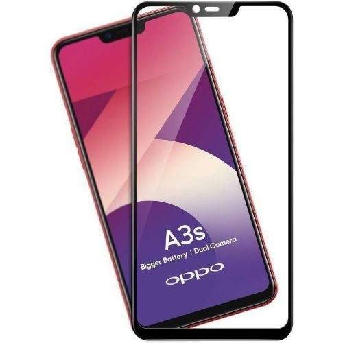 Oppo A3S Tempered Glass Black High Quality 6D 1