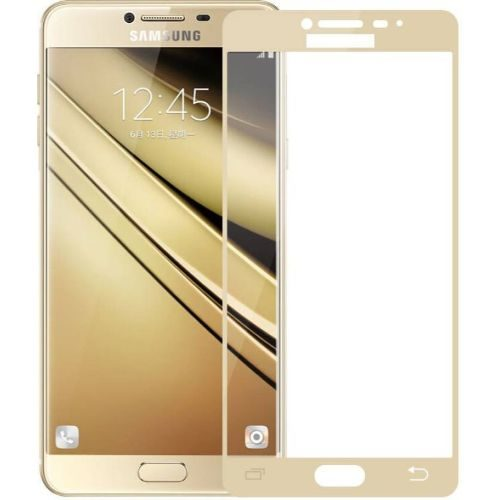 Samsung Galaxy C7 Pro Tempered Glass Gold High Quality 1