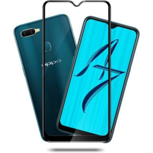 Oppo A7 Tempered Glass Screen Protector Full Glue Black 1