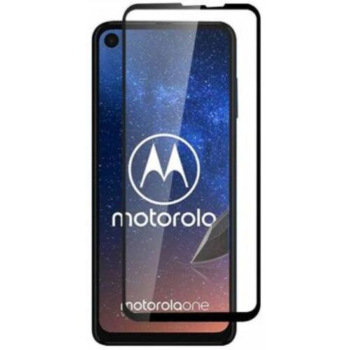 Motorola Moto One Vision Tempered Glass Screen Protector Full Glue Black 1