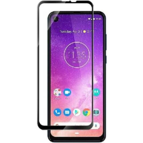 Motorola One Vision Tempered Glass Screen Protector Full Glue Black 1