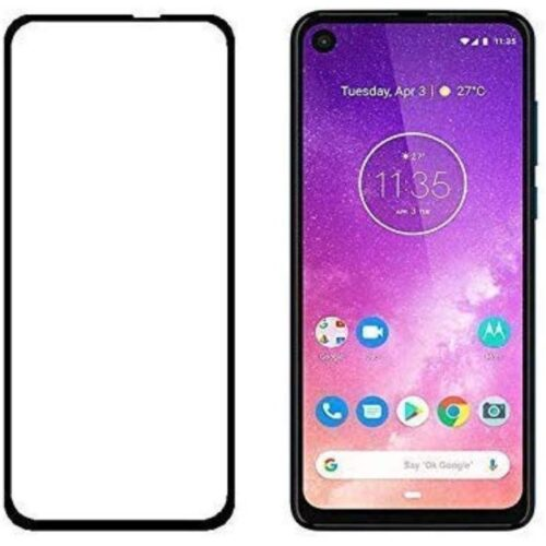 Tigerify Tempered Glass Screen Protector Full Glue 6D/11D Black For Motorola One Vision 1