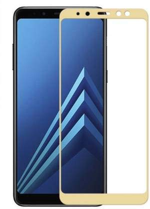 Tigerify Tempered Glass/Screen Protector for Samsung Galaxy A8 Plus (Gold Color) Edge To Edge Full Screen Coverage and Full Glue 1