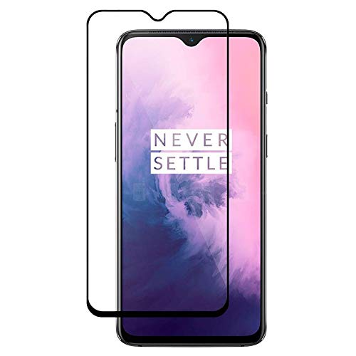 Tigerify Tempered Glass/Screen Protector for OnePlus 7 (Black Colour) Edge To Edge Full Screen Coverage and Full Glue 1