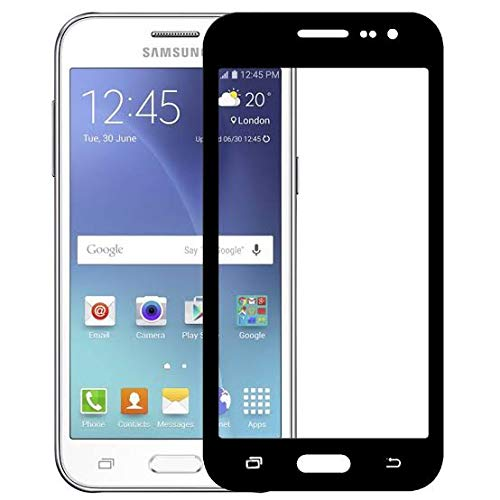Tigerify Tempered Glass/Screen Protector for Samsung Galaxy J2 - 2015 (Black Colour) Edge To Edge Full Screen Coverage and Full Glue 1