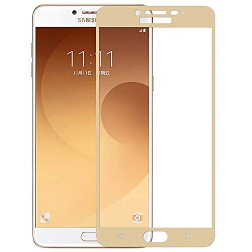 Tigerify Tempered Glass/Screen Protector for Samsung Galaxy C9 Pro (Gold Colour) Edge To Edge Full Screen Coverage and Full Glue 1
