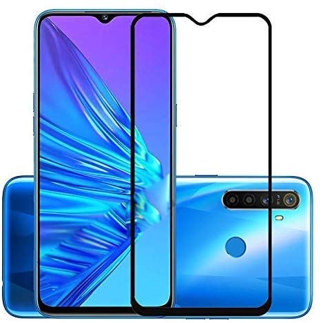 Tigerify Tempered Glass/Screen Protector for Realme 5i (Black Color) Edge To Edge Full Screen Coverage and Full Glue 1