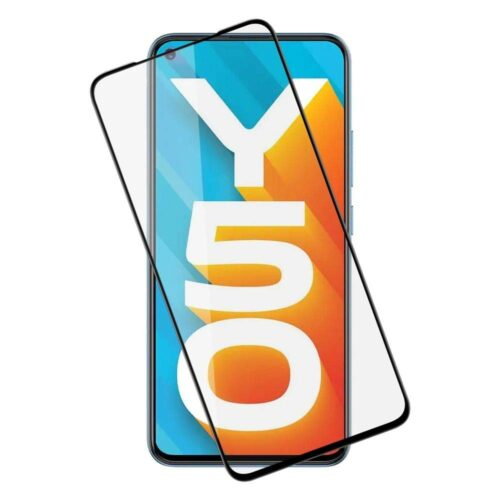 Tigerify Tempered Glass/Screen Protector for Vivo Y50 (Black Color) Edge To Edge Full Screen Coverage and Full Glue 1