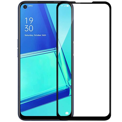 Tigerify Tempered Glass/Screen Protector for Oppo A52 (Black Colour) Edge To Edge Full Screen Coverage and Full Glue 1