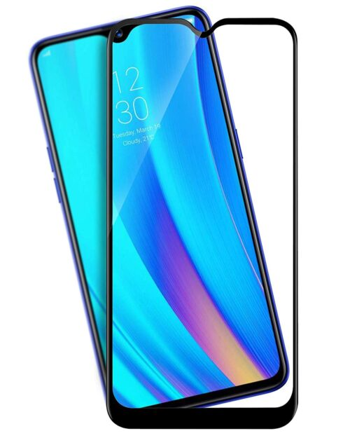Tigerify Tempered Glass/Screen Protector for REALME 3i (Black Color) Edge To Edge Full Screen Coverage and Full Glue 1