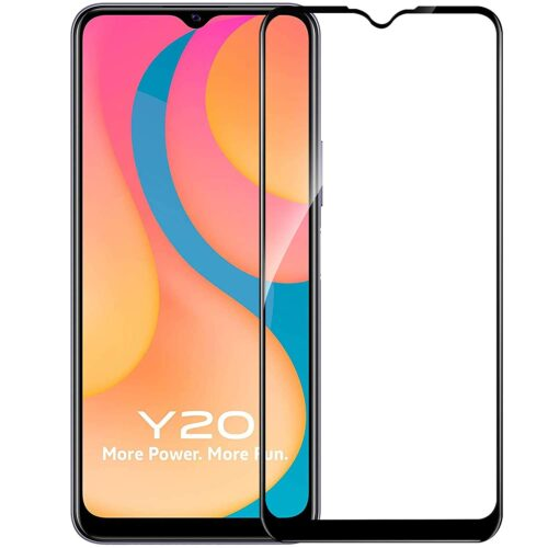 Tigerify Tempered Glass/Screen Protector for Vivo Y20i (Black Colour) Edge To Edge Full Screen Coverage and Full Glue 1