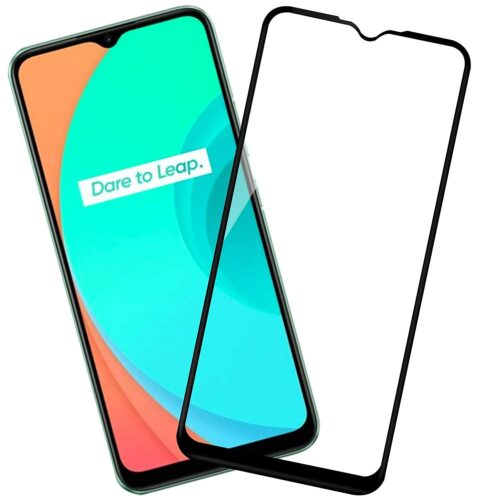 Tigerify Tempered Glass/Screen Protector for Realme C15 (Black Color) Edge To Edge Full Screen Coverage and Full Glue 1