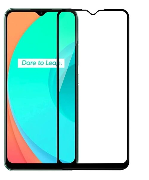 Tigerify Tempered Glass/Screen Protector for Realme C12 (Black Color) Edge To Edge Full Screen Coverage and Full Glue 1