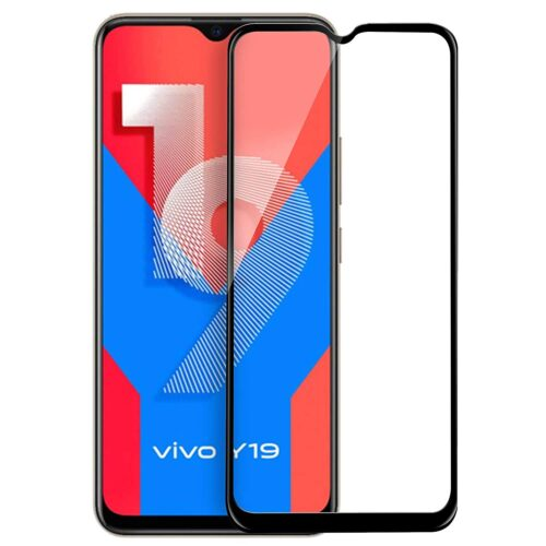 Tigerify Tempered Glass/Screen Protector for Vivo Y19 (Black Color) Edge To Edge Full Screen Coverage and Full Glue 1