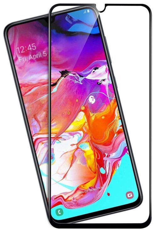 Tigerify Tempered Glass/Screen Protector for Samsung Galaxy A70S (Black Color) Edge To Edge Full Screen Coverage and Full Glue 1