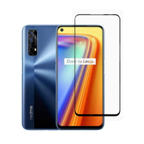 Tigerify Tempered Glass/Screen Protector for Realme 7i (Black Color) Edge To Edge Full Screen Coverage and Full Glue 1