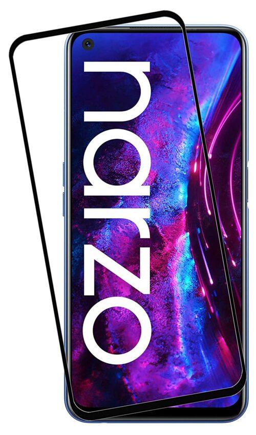 Tigerify Tempered Glass/Screen Protector Guard for Realme Narzo 30 Pro (BLACK COLOR) Edge To Edge Full Screen 11D 1