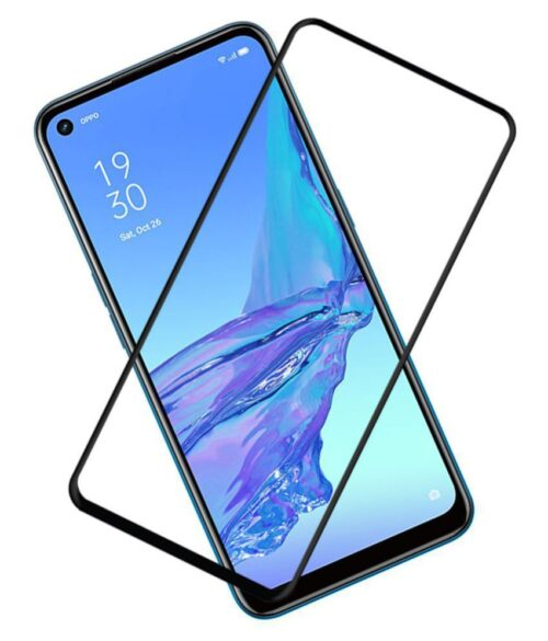 Tigerify Tempered Glass/Screen Protector for Oppo A53 2020 (Black Color) Edge To Edge Full Screen Coverage and Full Glue 1