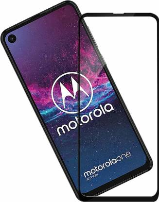 Tigerify Tempered Glass/Screen Protector Guard for Moto One Action (BLACK COLOUR) Edge To Edge Full Screen 1