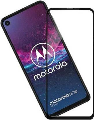 Tigerify Tempered Glass/Screen Protector Guard for Moto One Action (BLACK COLOR) Edge To Edge Full Screen 1
