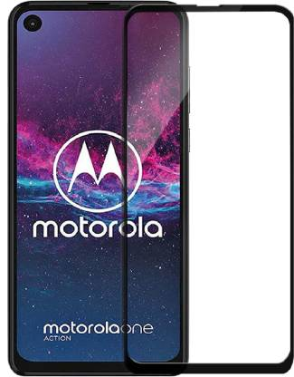Tigerify Tempered Glass/Screen Protector Guard for Motorola One Action (BLACK COLOR) Edge To Edge Full Screen 1