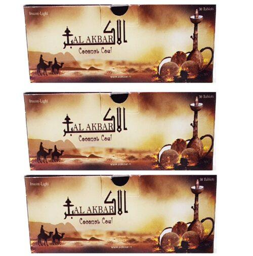 Al Akbar Long Lasting Coconut Coal for Burning Hookah Shisha 90 Pieces / 750 Gram
