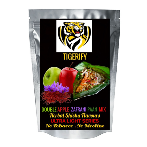 TIGERIFY Ultra Light Shisha Hookah Herbal DOUBLE APPLE ZAFRANI PAAN MIX Flavour 50grams 1